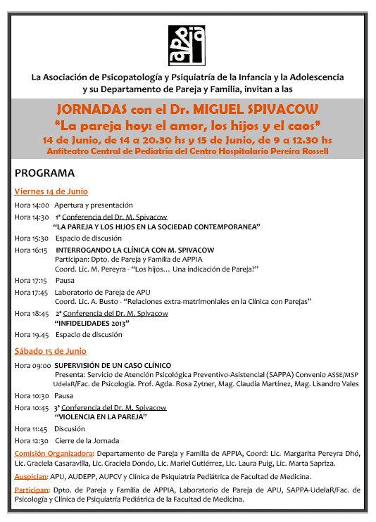 JORNADAS con el Dr. MIGUEL SPIVACOW (PROGRAMA)